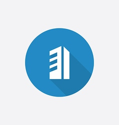building Flat Blue Simple Icon with long shadow vector image