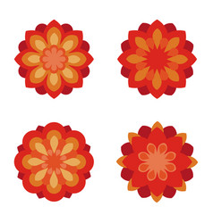 flat flowers icon set red flower symbols vector image vector image