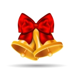 Golden bells with red bow on white background vector image