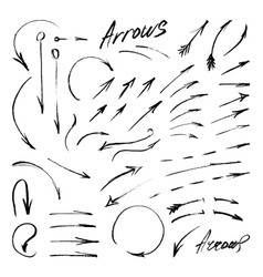 Hand-drawn isolated sketchy arrows set vector image
