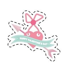 happy valentines day card heart arrow cut line vector image