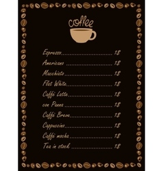 menu for a cup of coffee vector image vector image
