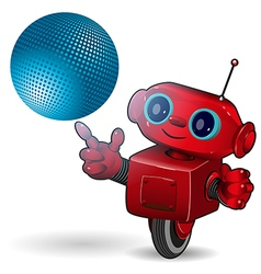 Red robot with blue ball vector image vector image