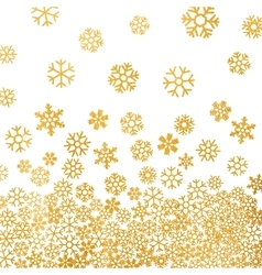 Abstract pattern of falling golden snowflakes vector image vector image