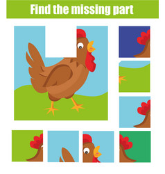 children educational game find the missing piece vector image vector image