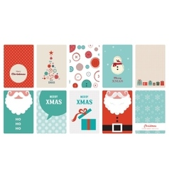 cute collection of vintage christmas greeting vector image
