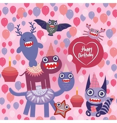 happy birthday Funny monsters party design vector image vector image