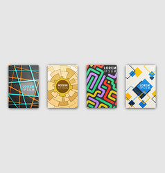set of booklets covers with modern abstract design vector image