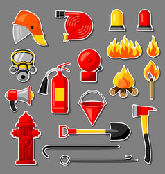 set of firefighting stickers fire protection vector image vector image