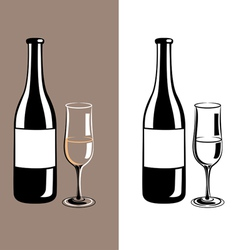 Wine glass and bottle of champagne vector