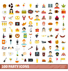 100 party icons set flat style vector
