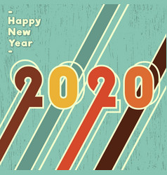 2020 happy new year background vintage design vector image