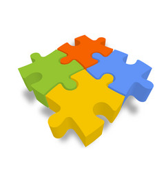 4 colorful jigsaw puzzle pieces team cooperation vector image