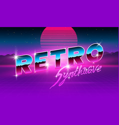80 s purple neon retro font futuristic metal vector