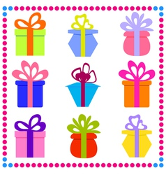 9 different gift boxes with ribbon vector image