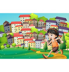 A hilltop with girl running across the buildings vector