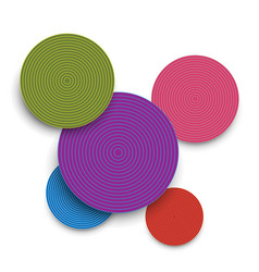 abstract colored paper circles and shadows vector image