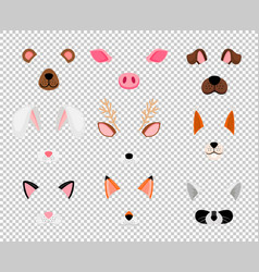 Animals face masks set on transparent vector
