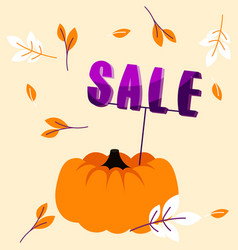 Autumn holiday sale banner with big pumpkin vector
