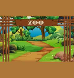 Background scene zoo with sign and trail vector