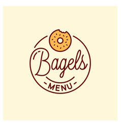Bagel menu logo round linear bagel bakery vector