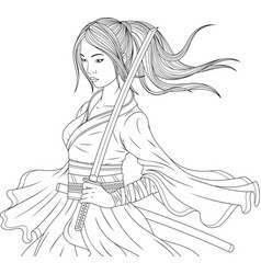 Beautiful samurai girl vector