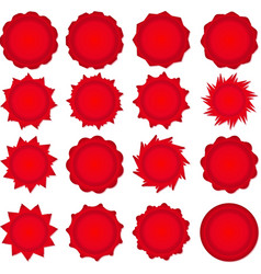 Big set of red promotional stickers vector image
