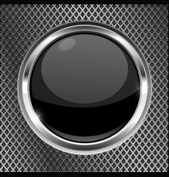 black button with chrome frame on metal background vector image