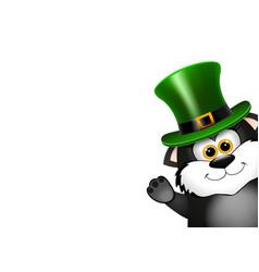 black cat in the leprechaun hat saint patricks vector image
