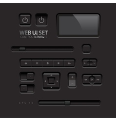 Black Web UI Elements Buttons Switches bars power vector image
