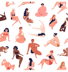 body diversity seamless pattern repeatable vector image