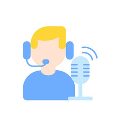broadcast flat color icon vector image