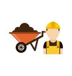 Builder with wheelbarrow isolated icon design vector
