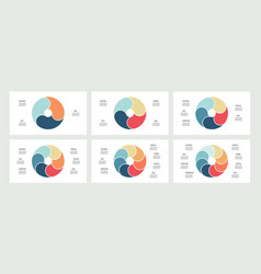 business infographics pie charts with 3 4 5 6 vector image