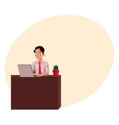 Businessman working on computer sitting in office vector