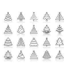 Christmas tree simple black line icons set vector