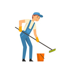Cleaning man with bucket and mop washing floor vector