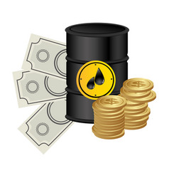 Color background with barrel petroleum and money vector