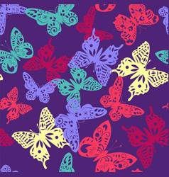 colorful butterfly pattern on violet background vector image