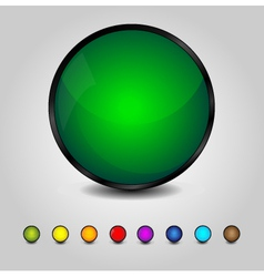 Colorful glossy round buttons vector image