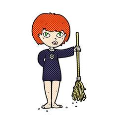 Comic cartoon pretty witch girl vector
