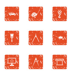 Commute icons set grunge style vector