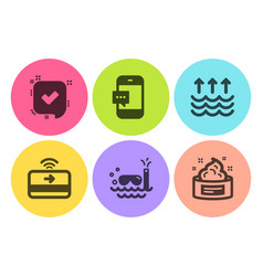 Confirmed evaporation and scuba diving icons set vector