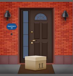 Contactless delivery left at door vector
