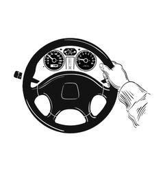 control of the car hand on car steering wheel vector image