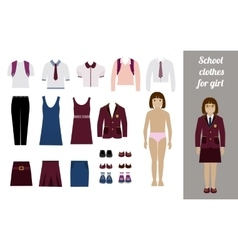 Create school girl kit with different uniforms vector image