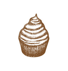Cupcake on white background in hand drawn style vector