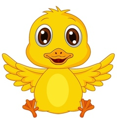 Cute baby duck cartoon vector image