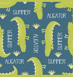 cute crocodile pattern vector image