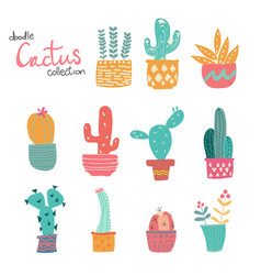 Cute doodle hand drawn pastel cactus collection vector